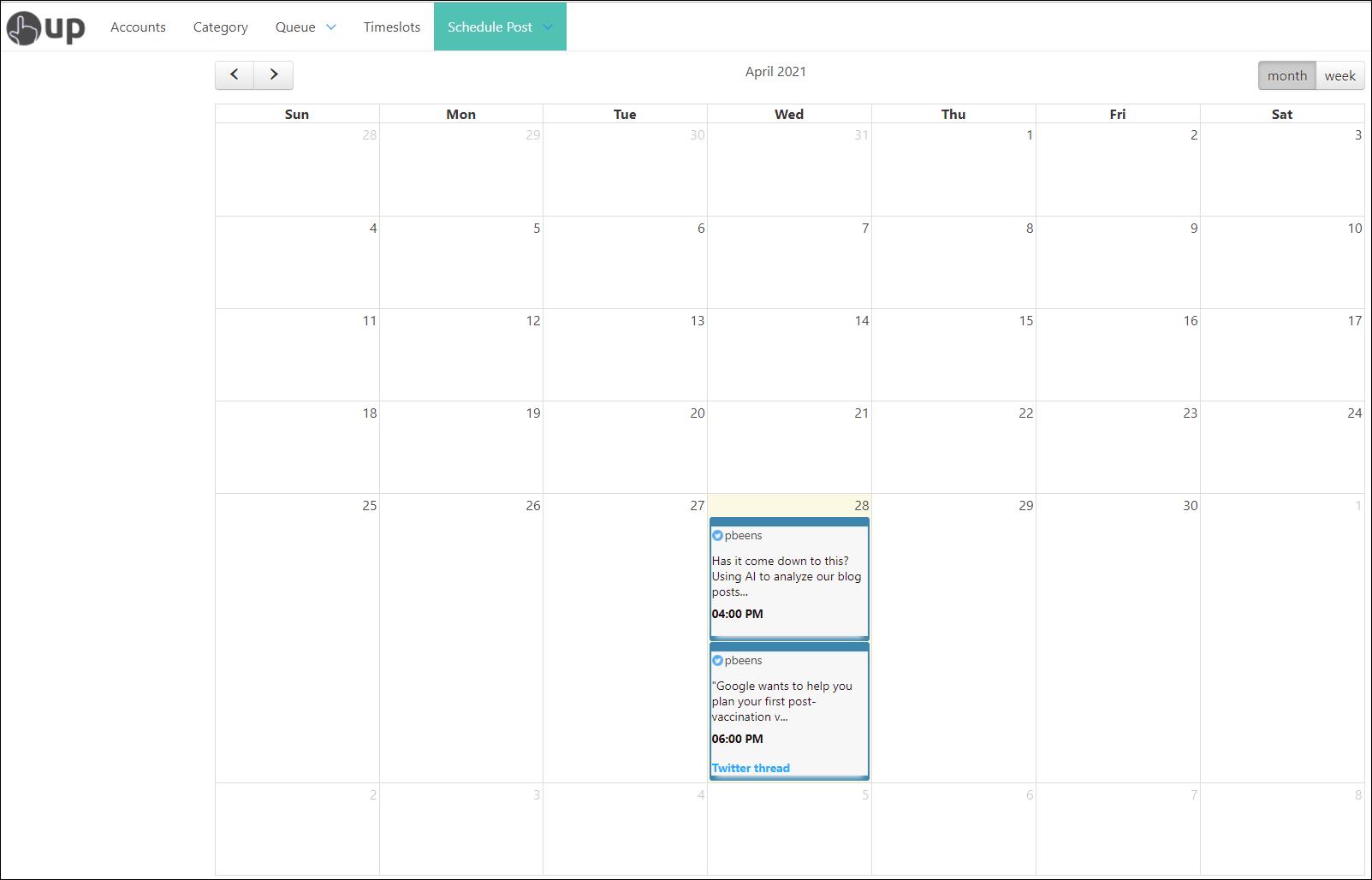 OneUp Calendar View