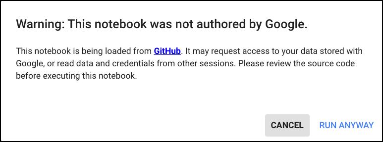 Google Colab Warning
